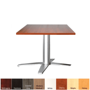 Square Top Reception Tables with Aluminum Prong Shape Base