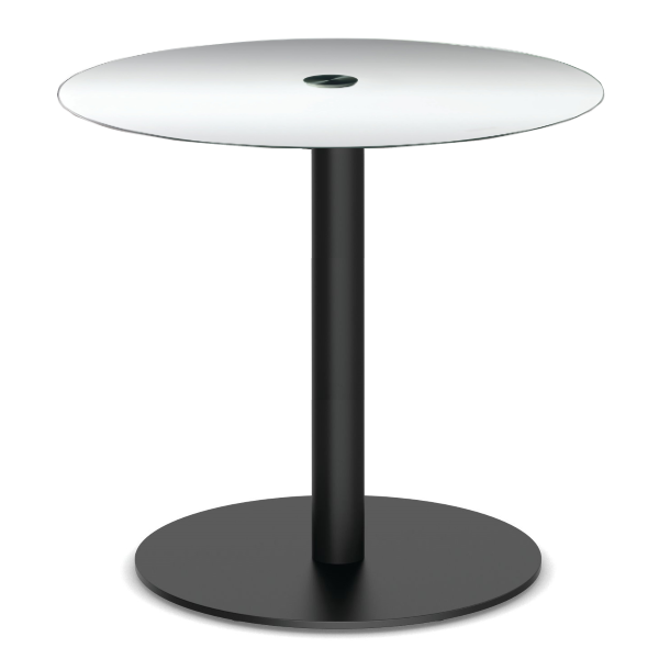 Standing Height Round Glass Table with Black Platform Base