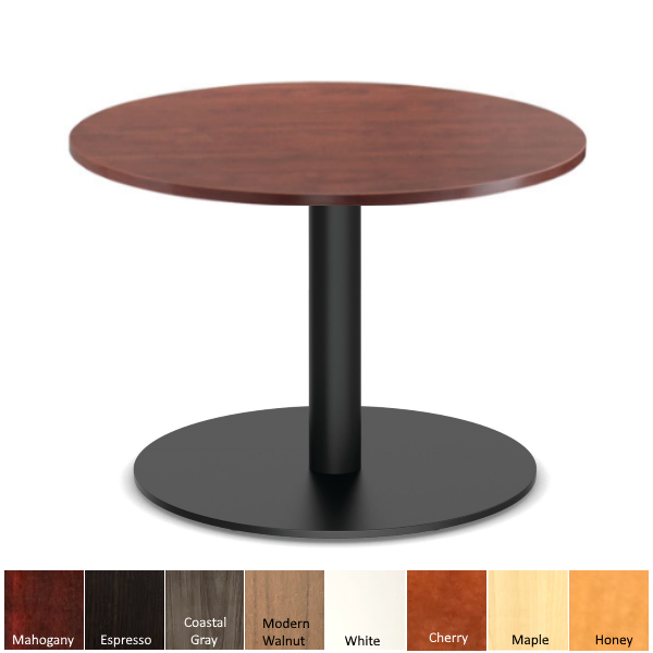 Round Cherry Table with Steel Black Base