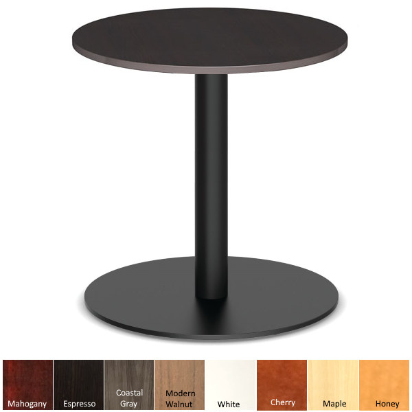 Espresso Round Top Cafe Bar Height Table with Matte Black Finish Base