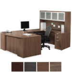 Office Source Step Front Bow Shaped U Desk & Glass Door Hutch Set - Right Bridge