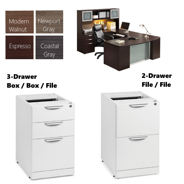 Glass Recessed Front Executive Desk Storage & Finish Colors