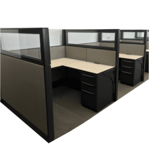 "Used Haworth Premise Workstations with Glass Tops - 5'x5'x58""H"