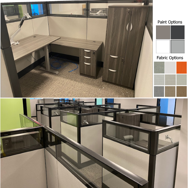 """Refurbished Adjustable Height Cubicle - 7 x 8 - 70"""" Tall"""