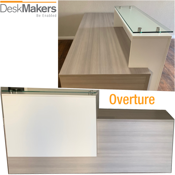 Deskmakers Overture Side and Front Reception Desk