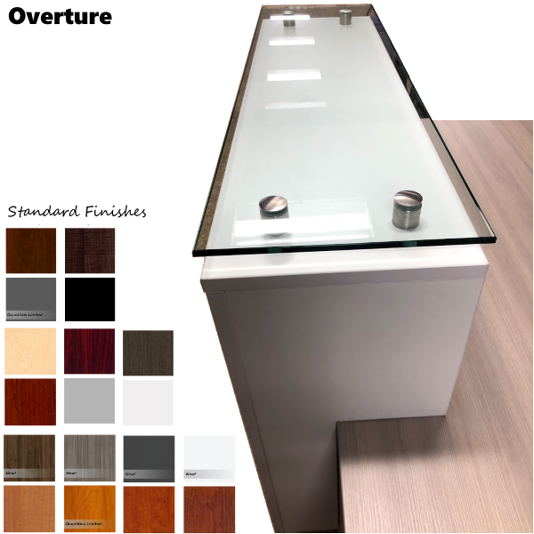 Deskmakers Overture Top Glass Reception Counter and Color Finishes