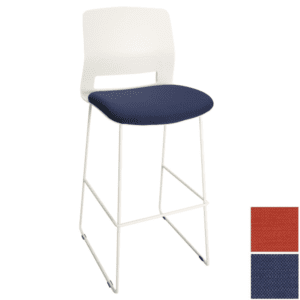 Express Break Room Stool - White Frame - Blue or Red Seat
