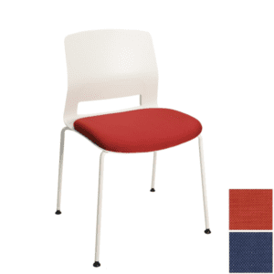 White Stacking Chair with Red Fabric Seat - Express