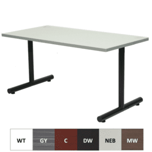Express Steel T-Leg Office Table - Black or Silver Base