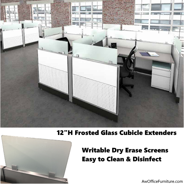 """Connect iT 12"""" Tall Frosted Glass Screens for Cubicles - Height Extenders"""