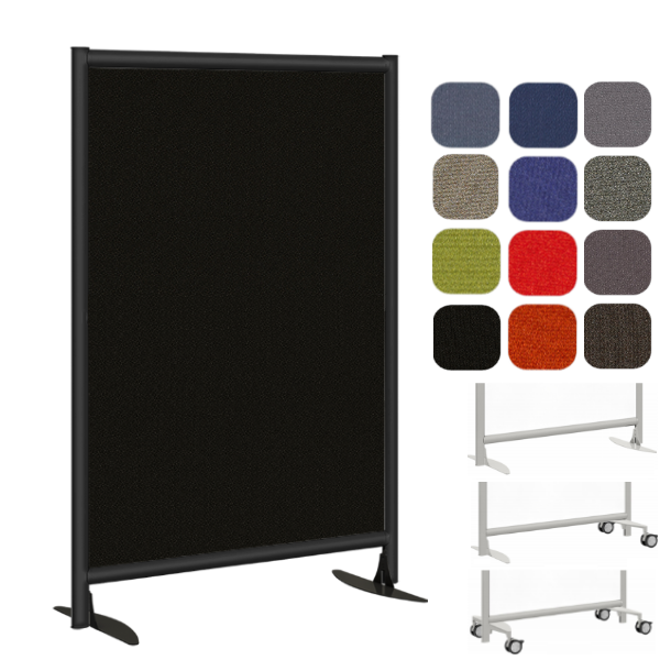 Black Fabric Room Divider Office Panel - Black Steel Frame