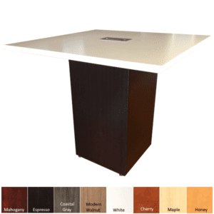 Cube Base Conference Table - Square Top with Cube Base