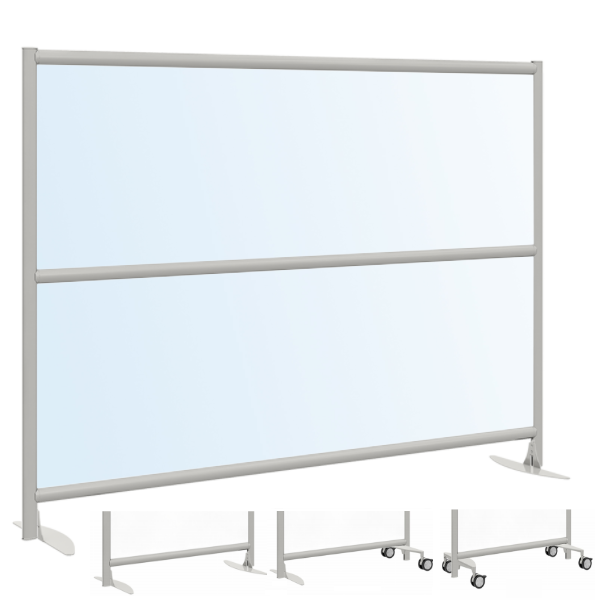 Mobile or Fixed Freestanding Room Divider - Clear or Frosted Acrylic