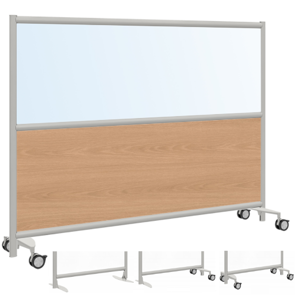 Mobile Office Divider Panel with Clear or Frosted Acrylic and Laminate