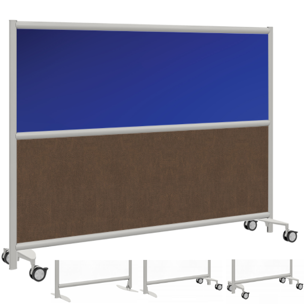 Mobile Freestanding Room Partition - Colored Acrylic & Laminate