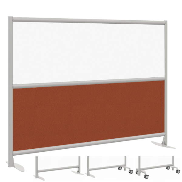 Laminate & Fabric 6' Wide Office Partition - Freestanding Panel