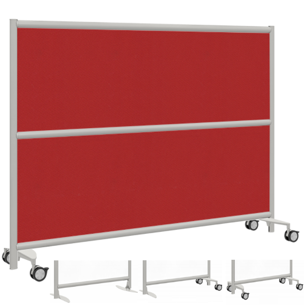 Mobile Red Fabric Room Divider