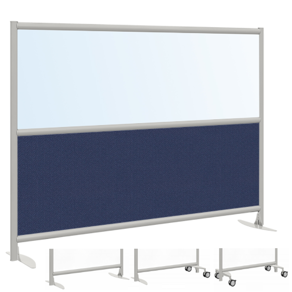 Clear or Frosted Extra Wide Room Divider Panel with Fabric Base