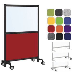 Frosted or Clear Acrylic Mobile Room Partition with 9MM Acoustic Base