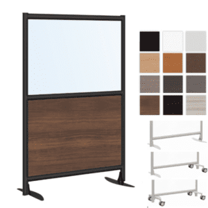 Dual Core Freestanding Wall Divider Office Panel with Laminate Base