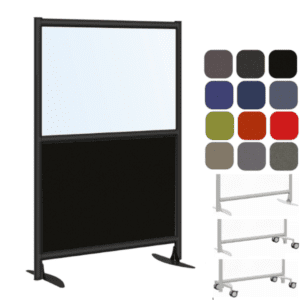 Clear or Frosted Acrylic Black Fabric Panel Room Divider