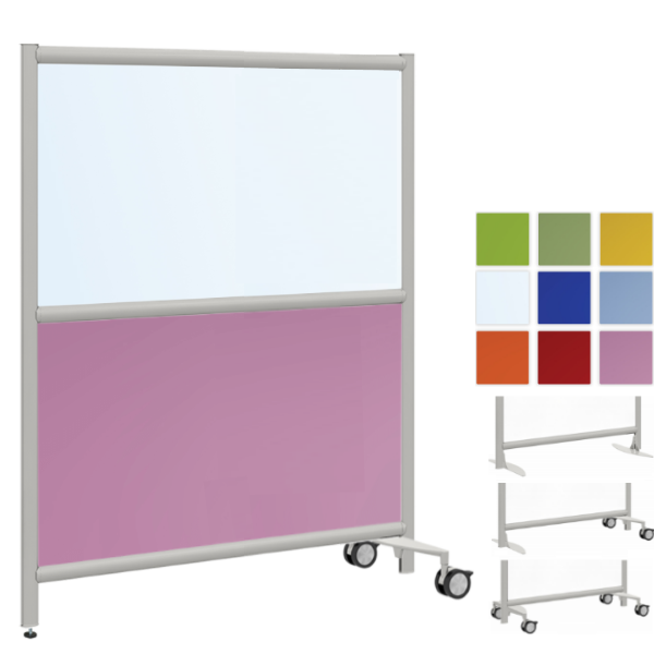 2-Core Room Divider Partition - Colorful Pink Acrylic with Clear or Frosted Top Panel