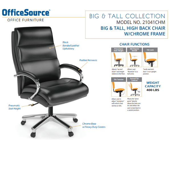 Office Source Big & Tall Exec Chair Spec