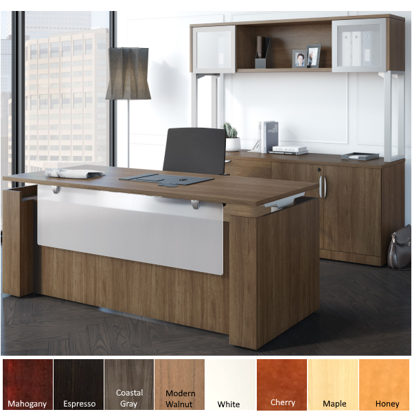 Sit to Stand Casing Desk Credenza Set