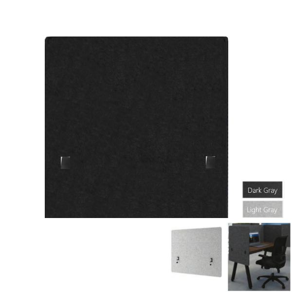 Wing Mount Acoustical Privacy Panel - Light or Dark Gray PET Material - AW Office Furniture