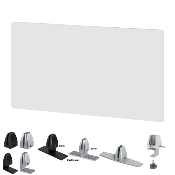 """42"""" 48"""" or 54""""W x 24""""H Frosted Desk Screens - AW Office Furniture"""