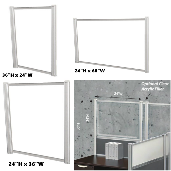 "Desk Mount Screens with Silver Frame Post - Available in 24""H or 30""H"