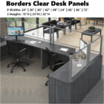 "Borders Clear Desk Panels with 3"" Tuck Under Spacing"