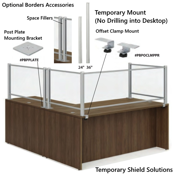 Desk Mount Adjustable or Removable Desk Shields and Screens - Accessories - Screen Fillers