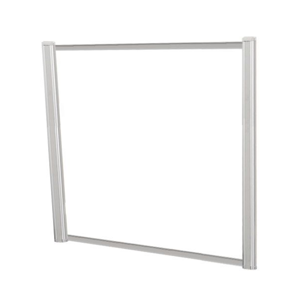 "48""W x 36""H Clear Plexiglas Desk Shield with Silver Frame"