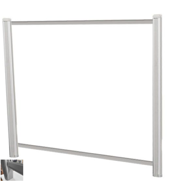 """60""""W x 36""""H Clear Acrylic Desk Shield with 3"""" Tuck Under for Passing Documents"""
