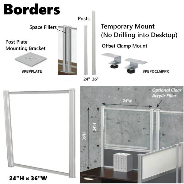 Borders Post Mount Desk Screens Information
