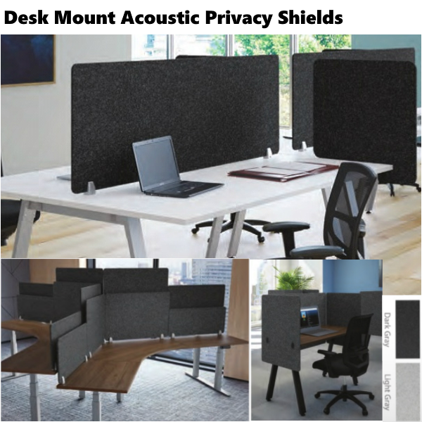 Desk Mount Acoustic Privacy Screens - Two Finish Colors