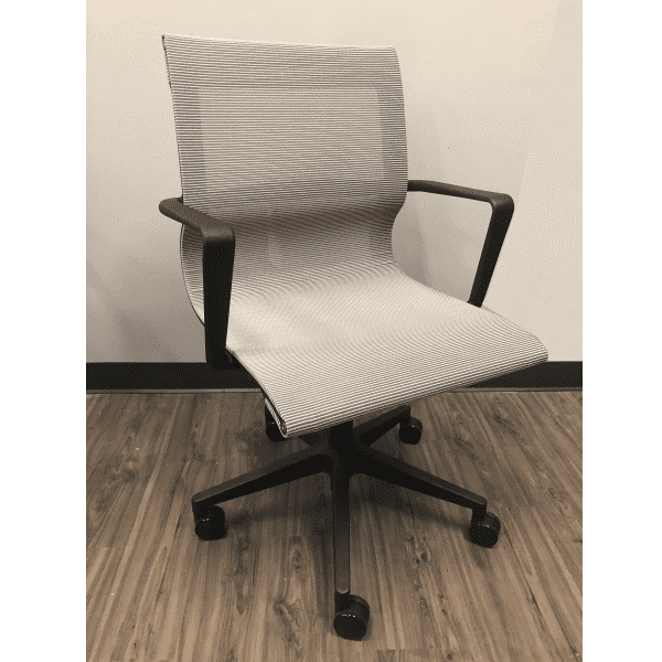Modern Silver Mesh Swivel Chair