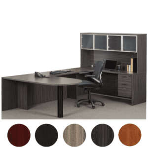 Bullet Shaped U-Desk with Glass Door Hutch