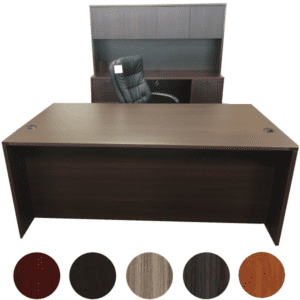Executive Desk & Door Hutch with Kneespace Credenza