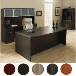 Bow Front Executive Desk Credenza Hutch Set - Espresso Finish