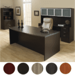 Bow Front Executive Desk & Credenza with Glass Door Storage Hutch