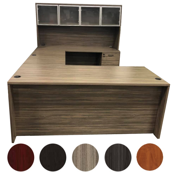 Right handed U Desk Set with Glass Door Storage Hutch