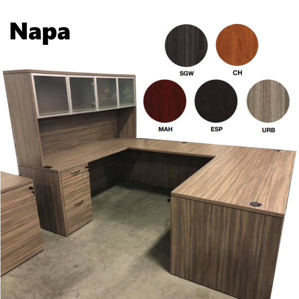 Napa Interior U Desk Set with Glass Door Hutch Set