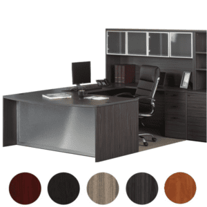 Napa Glass Front Executive Bow Top U-Desk Set