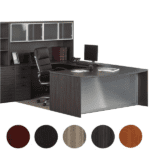Bow Top Glass U-Desk with Glass Door Hutch