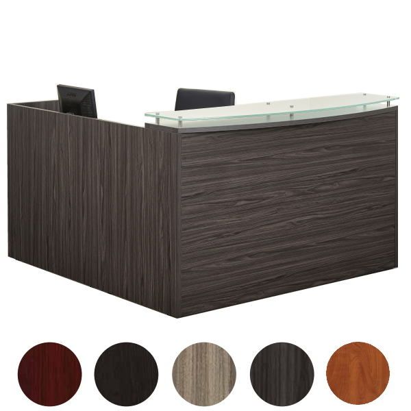Napa Right Handed Reception Desk with Bow Glass Transaction Counter