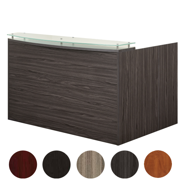 Modern Reception Desk with Glass Top Counter - Slate Grey