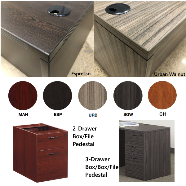 Edge Profile Finish Closeup - Napa Office Desks and Storage Pedestals - Five Finish Colors