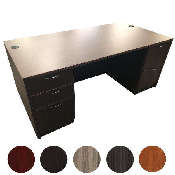 Double Pedestal Desk in Mahogany - Napa Series - OSP Furniture